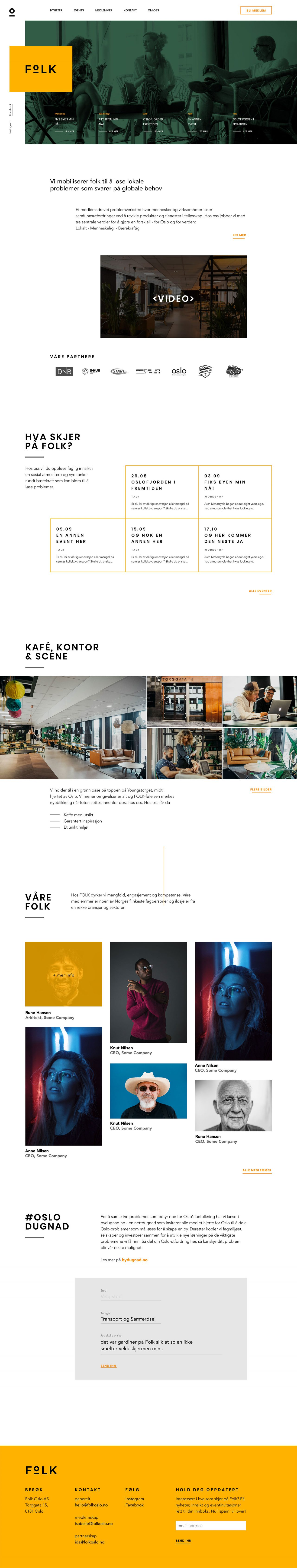 website page design for Folk Oslo, design and development by Hable Studios