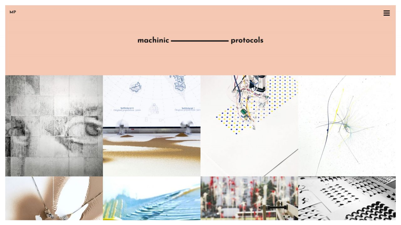 website page design for Machinic Protocols, design and development by Hable Studios