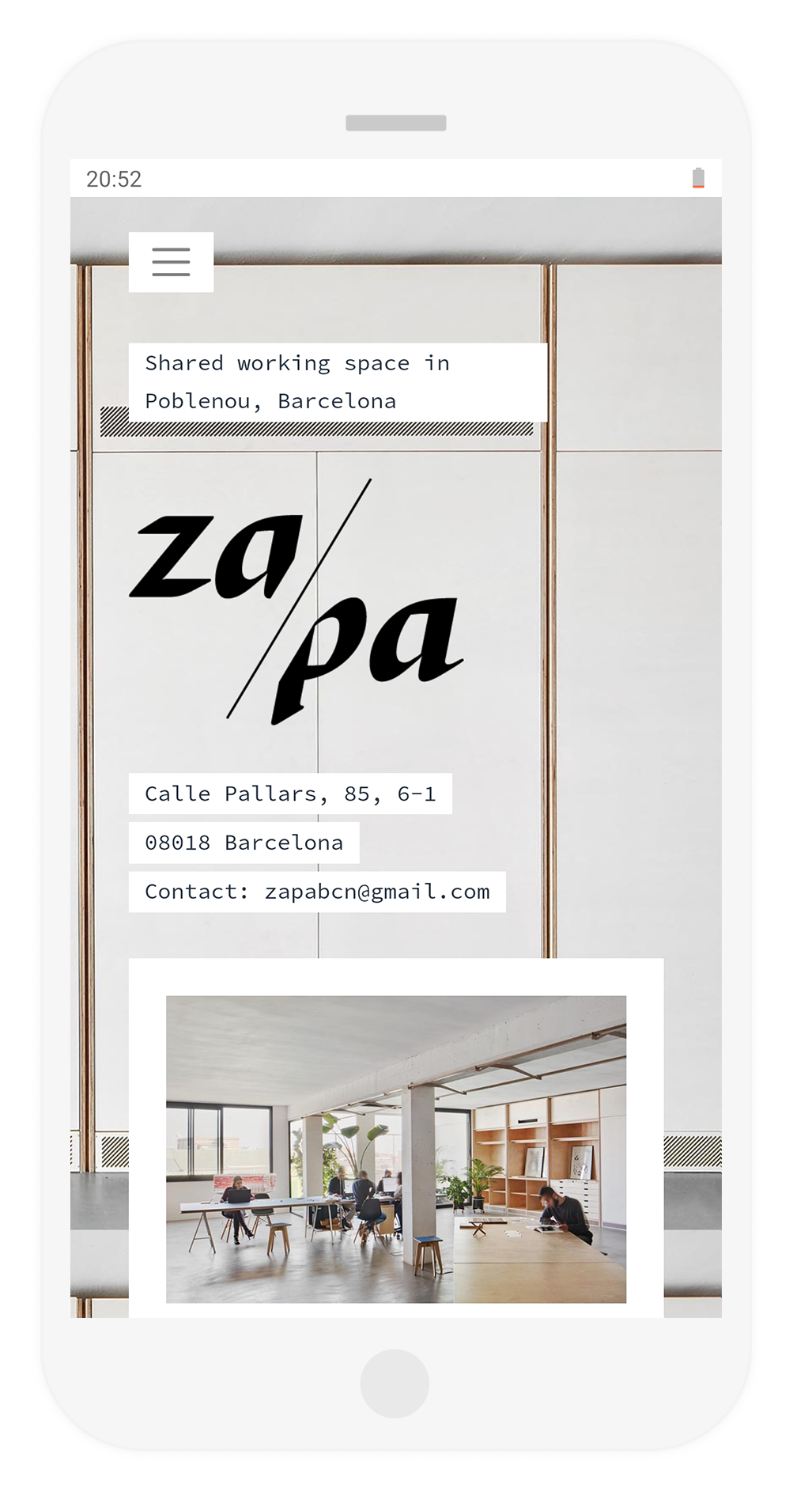 website page design for Za/Pa, development by Hable Studios