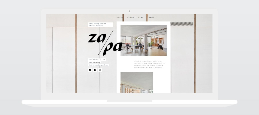 New website design for Za/Pa coworking, design and development by Hable Studios in Barcelona