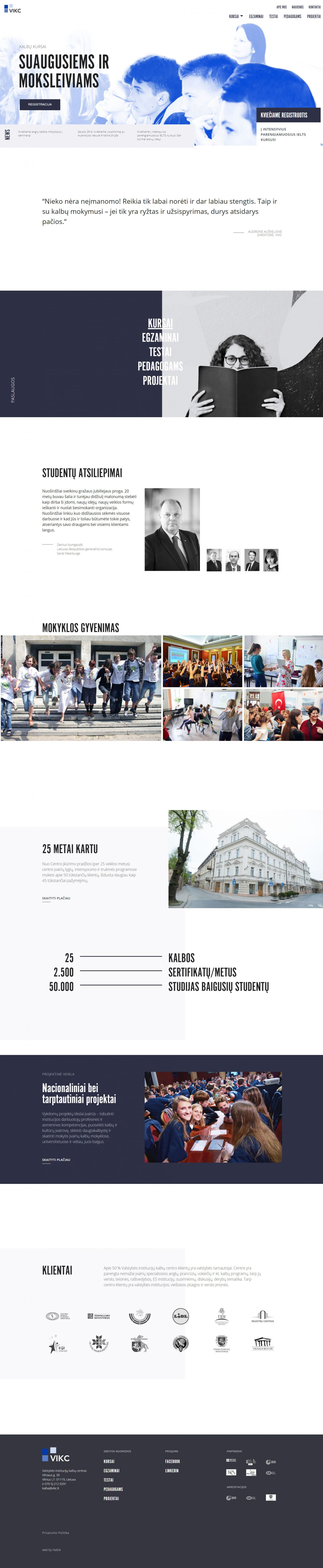 website home page design for language school, design and development by Hable Studios