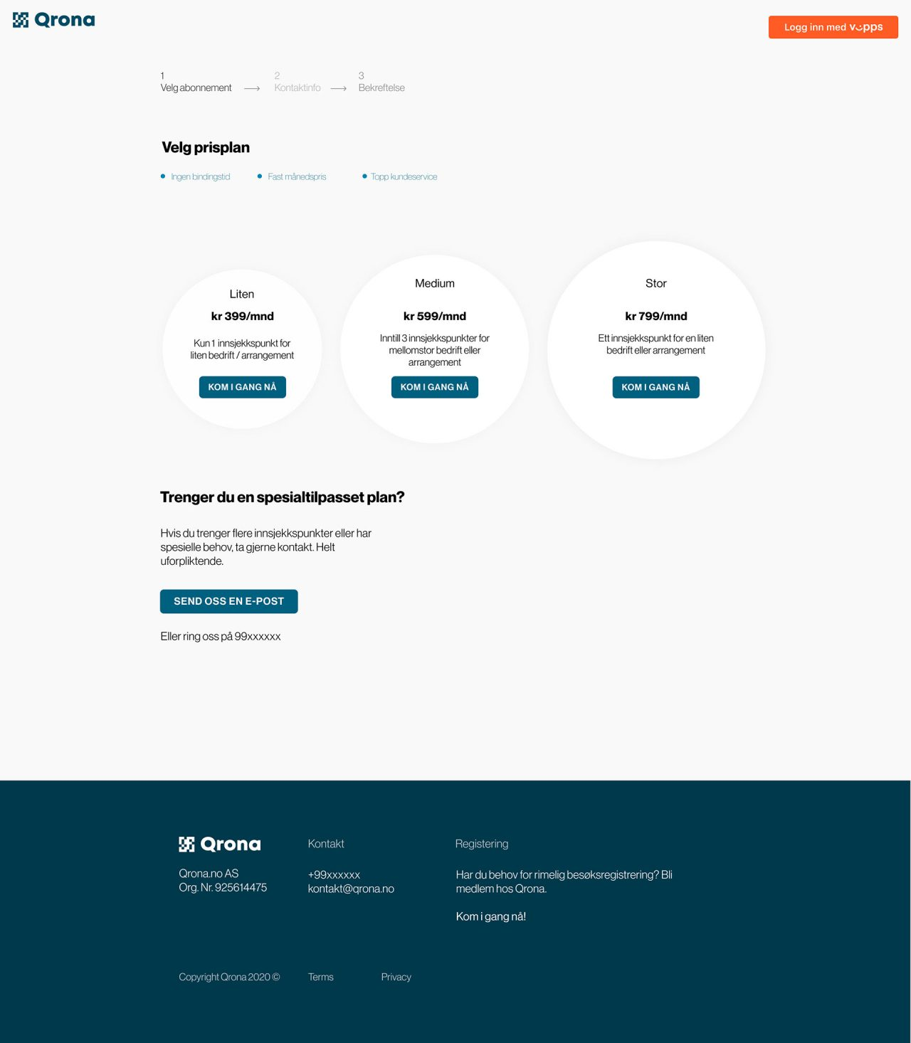 website page design for Qrona, design and development by Hable Studios