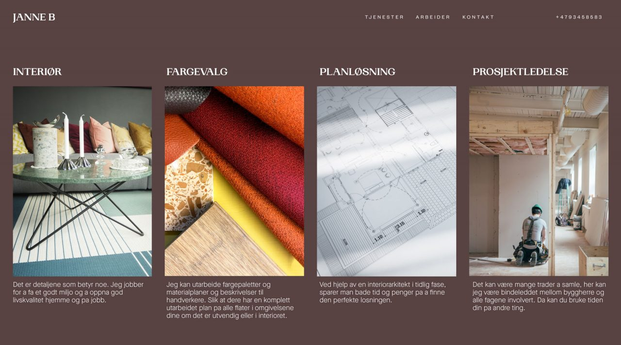 Website page design for Janne B Design, design and development by Hable Studios